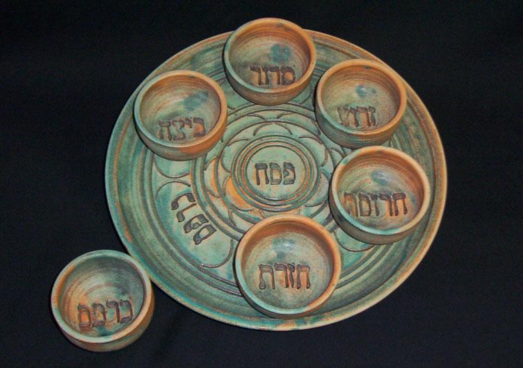Ceramic Seder Plate by Vichinsky Judaica Pottery & Ceramic Seder Plate by Vichinsky Judaica Pottery - All Jewish Gifts